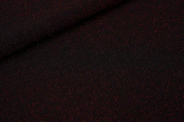 Elastischer Glitzer Jersey Modestoff schwarz mit roten Pünktchen