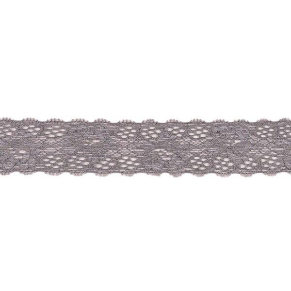 Spitzenborte Zierband elastische Spitze mit Rüschen Blumen uni dunkelgrau 35 mm