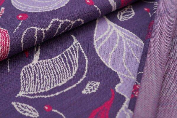 Jacquard-Sweat Ben lila / off white / amarant pink Blätter auf dunkel lila