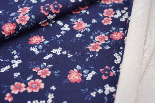 Baumwoll-Sweat mit kleinen Blumen auf dunkelblau