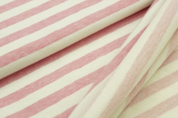 XXL Baumwollsweat Maya Melange Streifen breit pastell pink und off white