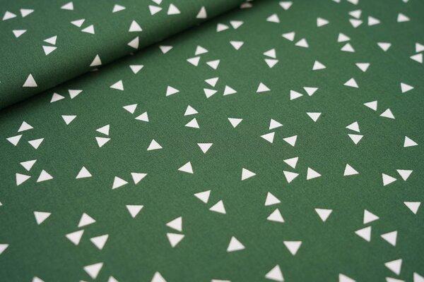 Baumwollstoff Baumwolle dunkelgrün mit weißen Dreiecken