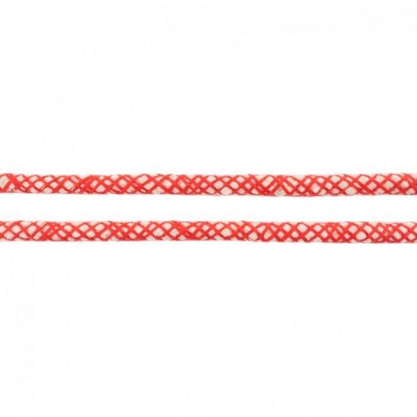 Kordel mit Netzmuster rund ecru / rot 8 mm breit