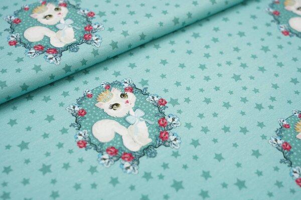Baumwoll-Jersey Katze mit Krone im Blumenkreis auf mintgrün mit Sternen