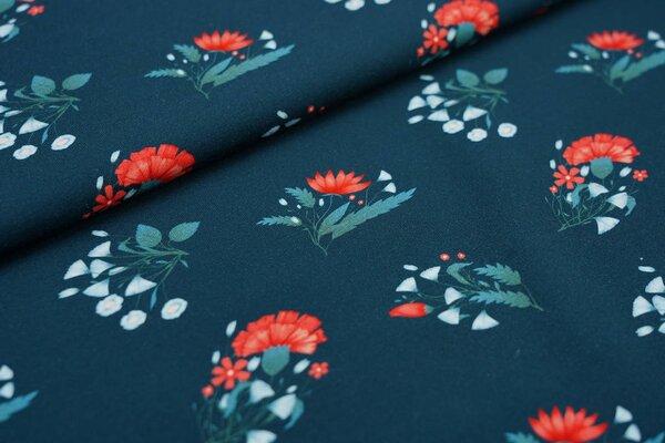 Traumbeere Baumwoll-Jersey Digitaldruck Rosen Blumen Blätter dunkelpetrol / rot / grün