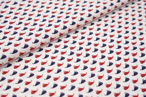 Baumwolle Swafing Kiel kleine navy blaue und rote Wale auf weiß