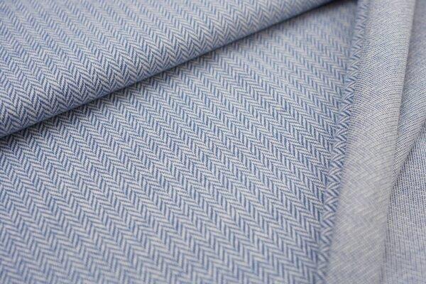 Kuschel Jacquard-Sweat Max Fischgrätenmuster taupe blau / off white