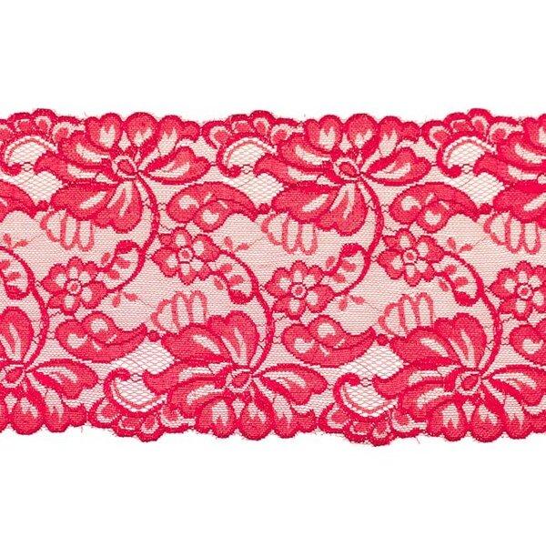 Elastische breite Spitze mit Blumen-Muster bordeaux rot 155 mm Spitzenbordüre