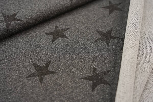 Baumwoll-Sweat schwarze Sterne auf dunkelgrau meliert maritim