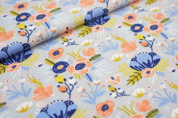 Baumwolljersey Blumen Bouquet hellgrau / pfirsich / senf / blau / weiß