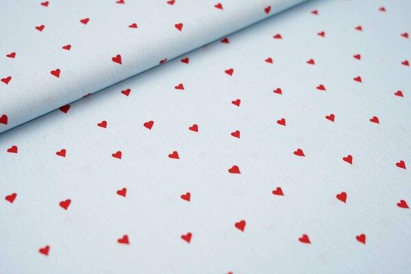 Baumwollstoff rote Herzen auf hellblau