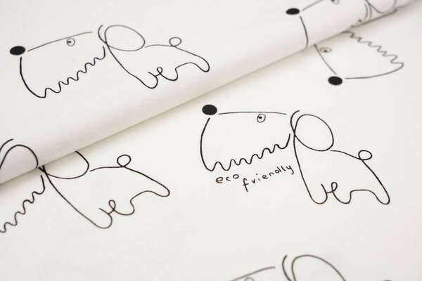 Interlock Jersey Comic Hunde creme ecru / schwarz