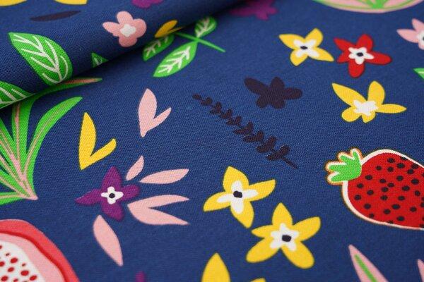 Canvas-Stoff Dekostoff in Leinenoptik Blumen Blätter und Früchte auf taubenblau