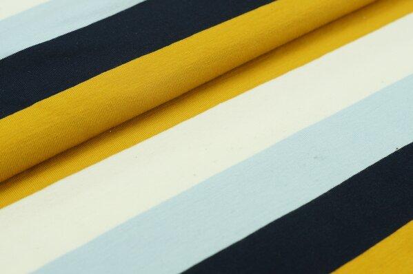 Sommersweat MARIE Blockstreifen navy blau hellblau senf ocker creme