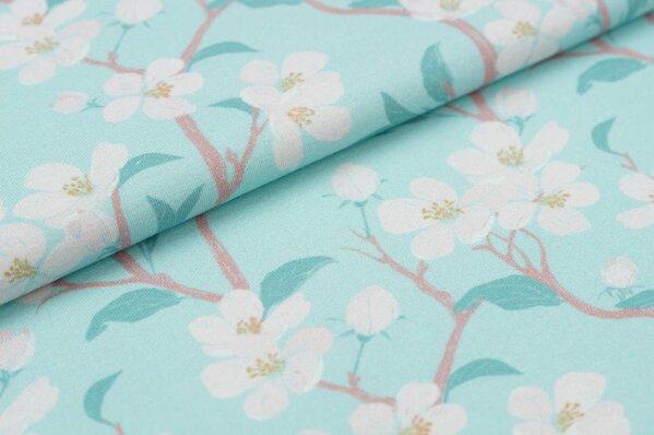 Baumwoll-Jersey Digitaldruck Kirschblüten Zweige auf hellblau