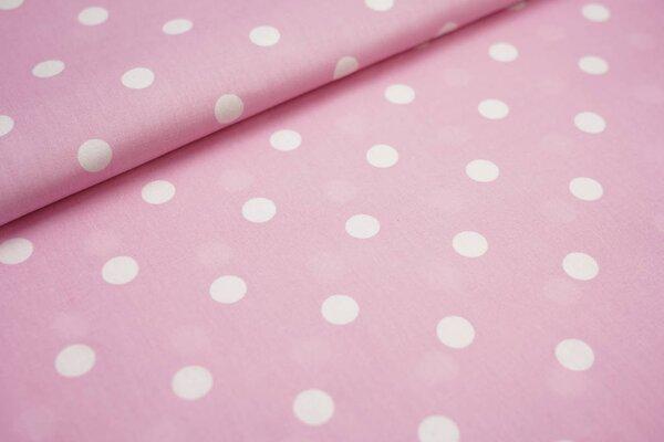 Baumwolle große Punkte rosa / weiß