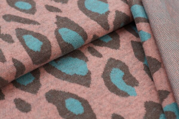 Kuschel Jacquard-Sweat Max XXL Leoparden Muster lachs / taupe braun / eisblau