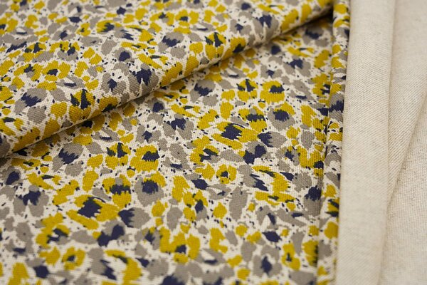 Canvas-Stoff Dekostoff Leinenoptik wildes Muster senf oliv dunkelblau grau natur