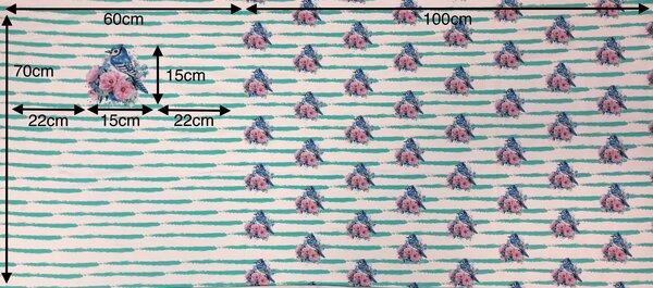 Panel Baumwoll-Sweat Streifen Vögel Blumen off white mint Rapport Digital