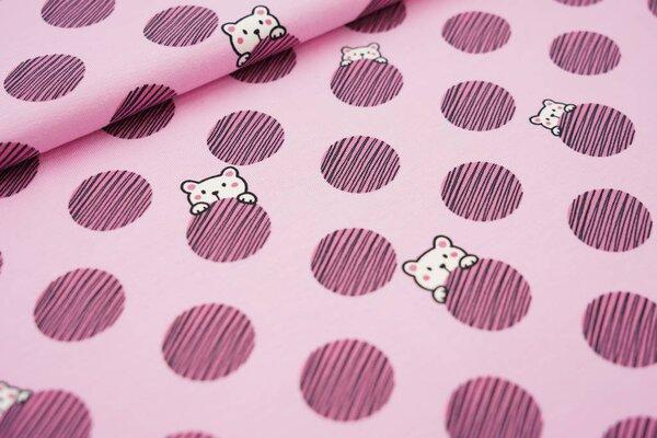 Baumwoll-Jersey Teddybären auf Kreisen rosa / schwarz / weiß schraffierte Punkte