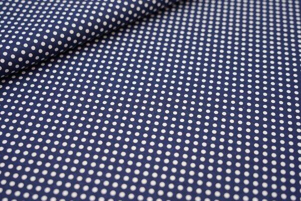 Baumwollstoff weiße Punkte auf dunkelblau maritime Baumwolle