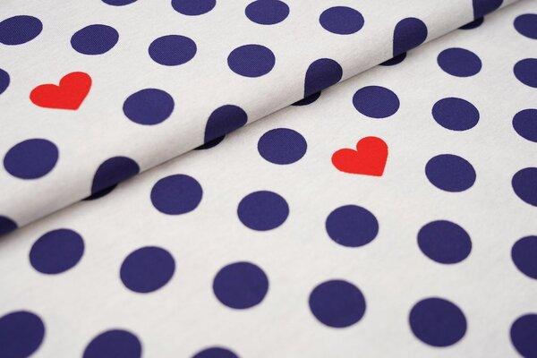 Baumwoll-Jersey große dunkelblaue Punkte und rote Herzen auf grau meliert
