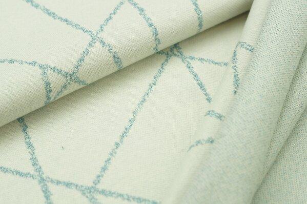 Jacquard-Sweat Ben hellblaue Lurex Glitzer Streifen auf off white