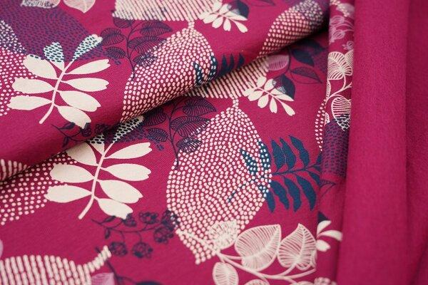 Kuscheliger Baumwoll-Sweat mit Blättern beere pink / weiß / petrol / hell lila / dunkelblau