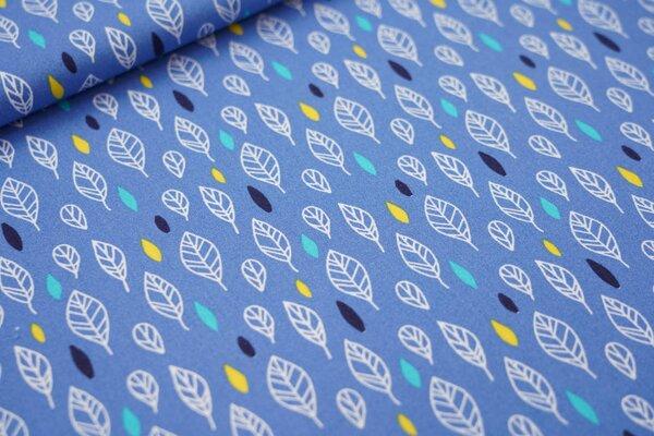 Baumwolle Blätter und Ellipsen blau / weiß / gelb / türkis / dunkelblau