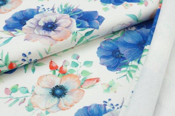 XXL Baumwoll-Sweat mit Digitaldruck Aquarell Blumen blau lila auf off white