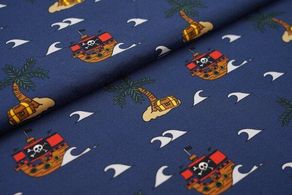 Baumwoll-Jersey Piratenschiffe Welle Inseln Palmen Schatztruhen auf dunkelblau
