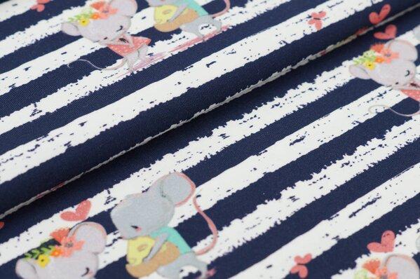 Traumbeere Baumwoll-Jersey Digitaldruck Lucy & Leo Mäuse Streifen dunkelblau / off white
