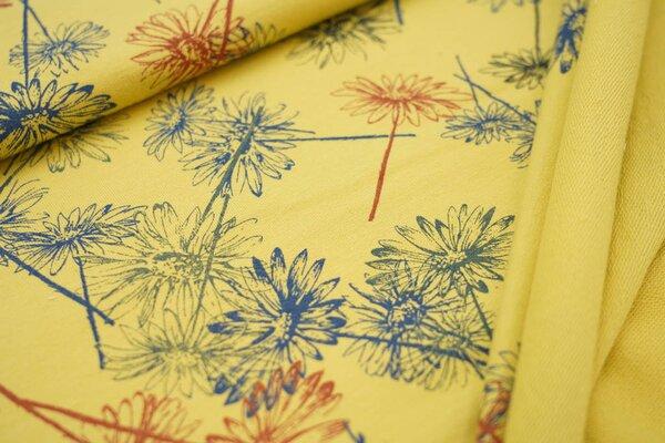 Baumwoll-Sweat mit bunten Blumen auf senfgelb