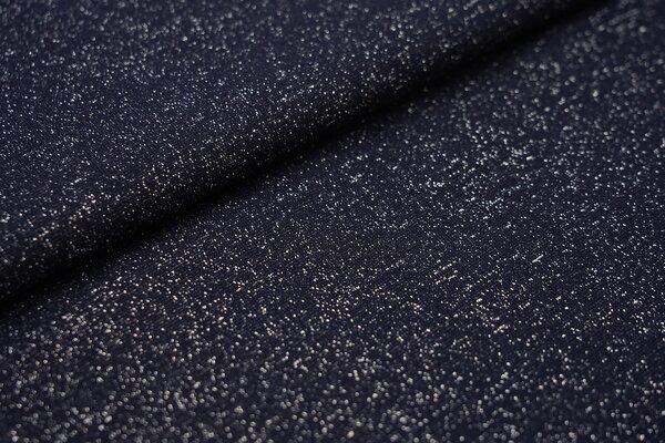 Glitzer Bündchen navy dunkelblau mit silber Lurex Glitzer