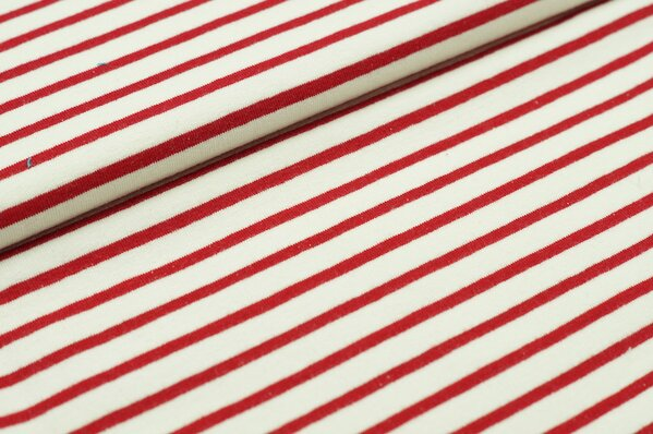 XXL Sommersweat MARIE Streifen mittel rot creme