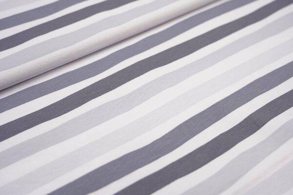 Baumwoll-Jerseystoff wellige Streifen grau / dunkelgrau / weiß