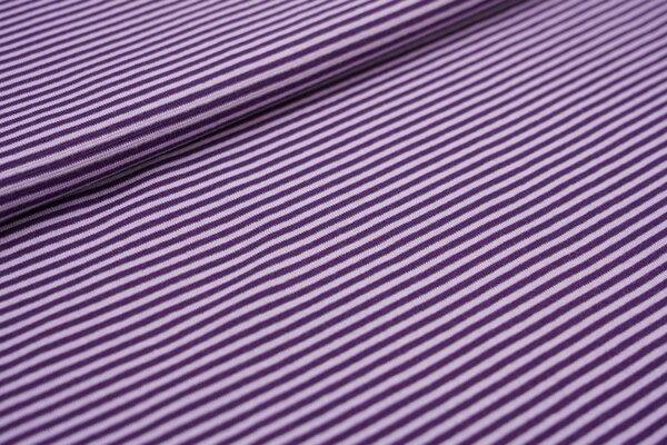 Ringelbündchen glatt kleine Streifen lila / hell lila