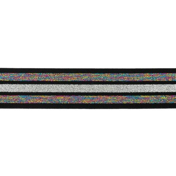 Schwarzes Gummiband mit 3 Glitzer Streifen regenbogen-multi silber 40 mm breit