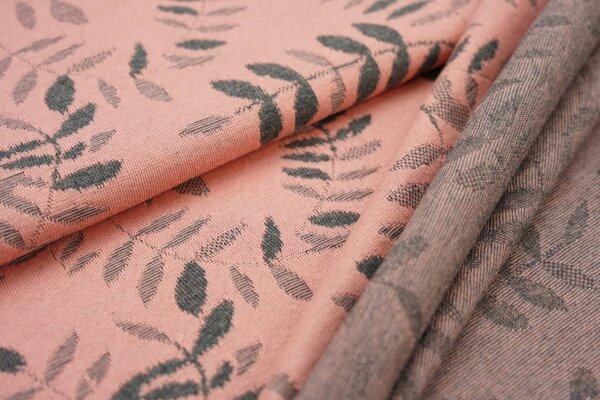 Jacquard-Jersey dunkelgraues Blätter Muster auf lachs