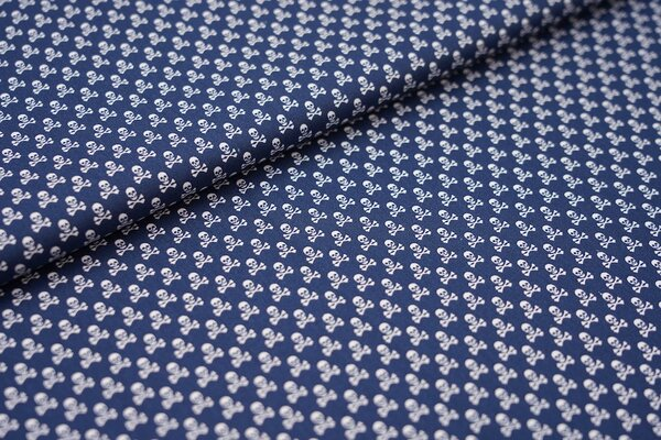 Baumwollstoff Baumwolle navy blau mit kleinen weißen Totenköpfen