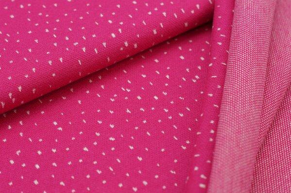 Jacquard-Sweat Ben off white Pünktchen auf amarant pink