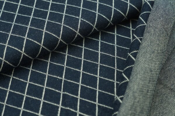 Jacquard-Sweat Ben Rauten navy blau / off white
