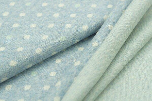 Jacquard-Sweat Mia off white und mint Punkte auf pastell hellblau Melange