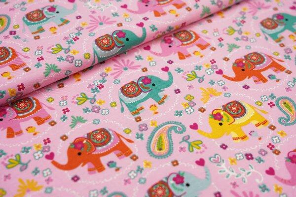 Baumwoll-Jersey geschmückte Elefanten und Blumen auf rosa