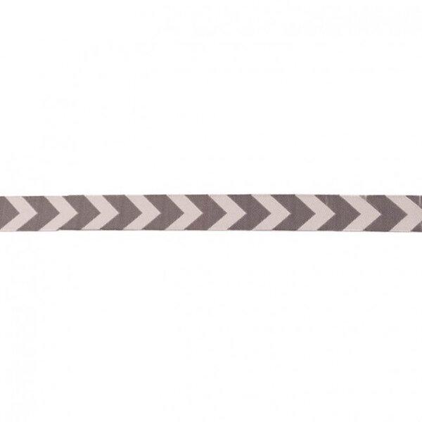 Webband Zierband mit Pfeilen grau / dunkelgrau 15 mm