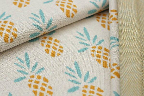 Jacquard-Sweat Ben Ananas off white / senf / eisblau