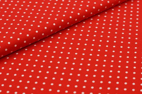 Baumwoll-Jersey kleine weiße Punkte auf rot