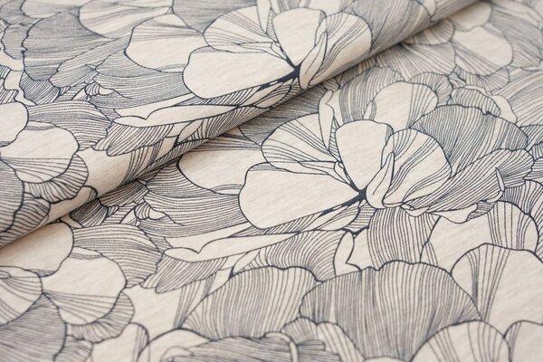 Sommer T-Shirt-Stoff / leichter Jersey große Blüten Blumen beige / schwarz