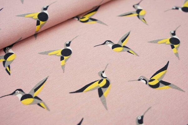 Canvas-Stoff Dekostoff in Leinenoptik Kolibri Vogel auf altrosa Vögel