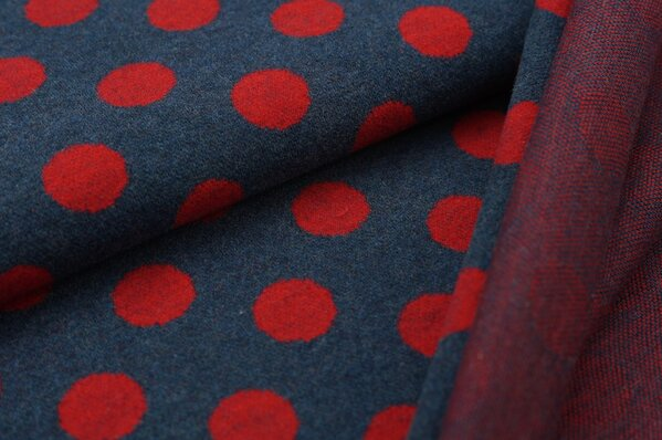 Kuschel Jacquard-Sweat Max mit großen Punkten navy blau / rot Melange